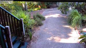 Actual security camera footage in doorway of home